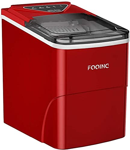 Ice Maker Machine FOOING Ice Maker Ice Cube Maker Counter Top Ready in 6 Mins 2L Ice Machine with Ice Scoop and Basket LED Display Ice Machine Maker for Home Bar Kitchen Office