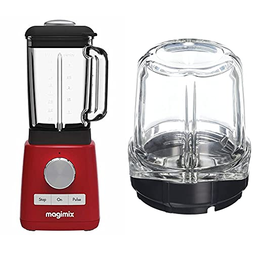 Magimix 11613 Le Blender, Red Finish & 17654 Mill Attachment, Glass, Clear