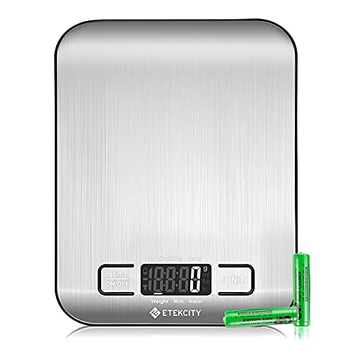 Etekcity Digital Kitchen Scales, Premium Stainless Steel Food Scales, Professional Food Weighing Scales with LCD Display, Incredible Precision up to 1 g (5 kg Maximum Weight), Silver