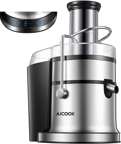 Juicer, AICOOK 800W Juicer Machine with 5 Speed Settings(LED Display), Wide Mouth 3' Feed Chute for Whole Fruit Vegetable Centrifugal Juice Extractor, Easy Clean and Assemble, BPA-Free, Anti-Drip