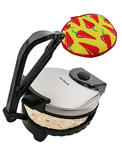 10inch Roti Maker by StarBlue with Free Roti Warmer - The Automatic Non-Stick Electric Machine to Make Chapati, Tortilla, AC 220-240V 50/60Hz 1200W, UK Plug, Europe Adapter Included