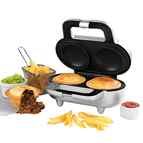 Giles & Posner EK4082G Non-Stick Deep Fill Pie Maker, 900 W, Bake Authentic British Pies, Easy to Clean, Lock-Latch Design, Silver