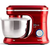VonShef Red Food Mixer - Stand Mixer with 8 Speeds 4.5 Litre Mixing Bowl & Splash Guard – Includes Beater, Dough Hook & Balloon Whisk for Cake, Batter, Bread, Desserts and More 1000W