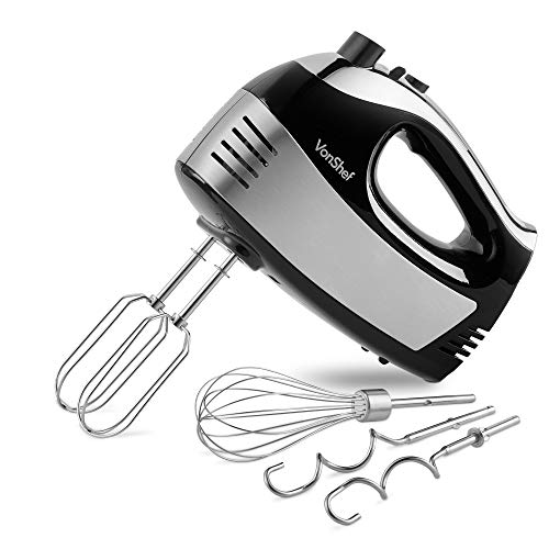 VonShef Black Hand Mixer – 400W Multifunctional Electric Mixer with 5 Speeds & Turbo Button, Removable & Dishwasher Safe Attachments Including Stainless Steel Beaters, Dough Hooks & Balloon Whisk
