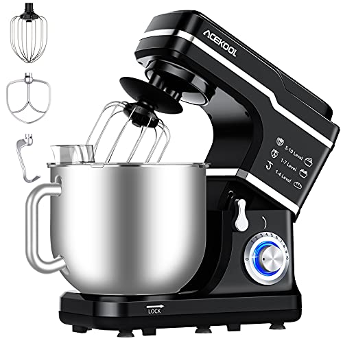 Stand Mixer Food 7L Acekool MC1 10 Speeds 1400W Tilt-Head Cake Electric Kitchen Multi-Functional with Dough Hook Mixing Whip and Beater (Black)