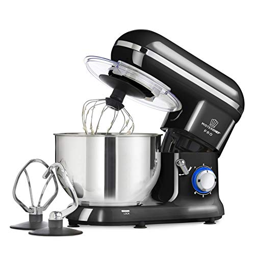 MisterChef® PRO Professional Electric Kitchen 1600W Food Stand Mixer BLACK - BIG BOWL - 3 Attachments: Eggbeater, Dough Hook & Stainless Steel Whisk - 5.5L Stainless Steel Bowl