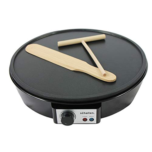 Schallen Black 1000W Electric Traditional Pancake & Crepe Maker Machine, 12' Hot Plate and Utensils Included