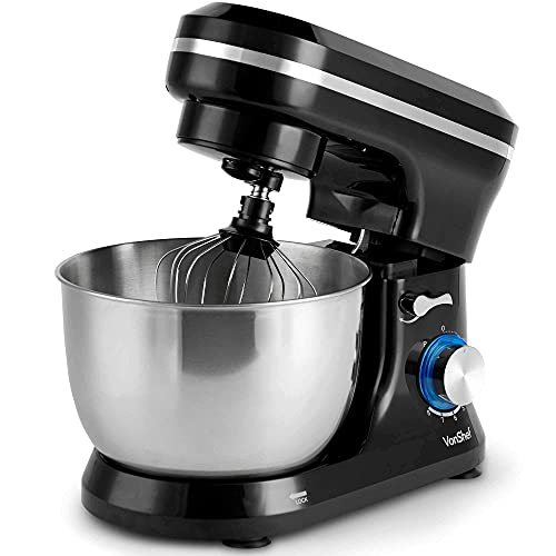 VonShef Black Food Mixer - 8 Speed 1000W Stand Mixer with 3.2L Mixing Bowl, Splash Guard, Beater, Dough Hook & Balloon Whisk for Cake, Bread & Dessert