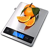 Kitchen Scale, Homever 15kg Food Scale with 9 * 6.3in Big Panel, Stainless Steel Digital Kitchen Scale with 1g Accuracy and Back-lit LCD Display.