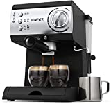 Traditional Pump Espresso Coffee Machine, Homever 15 Bar 1050W Italian Traditional Espresso Coffee Maker with Milk Frothing,1.5L Removable Water Tank, Washable Drip Tray for Latte, Cappuccino, etc.
