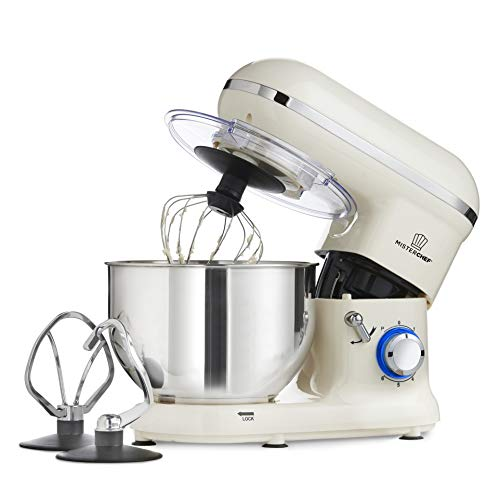 MisterChef® PRO Professional Electric Kitchen 1400W Food Stand Mixer - BIG BOWL - 3 Attachments: Eggbeater, Dough Hook & Stainless Steel Whisk - 5.5L Stainless Steel Bowl