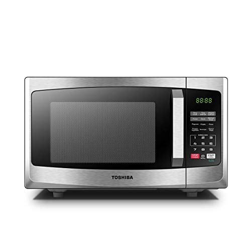 Toshiba 800 w 23 L Microwave Oven with Digital Display, Auto Defrost, One-Touch Express Cook, 6 Pre-Programmed Auto Cook Settings, and Easy Clean - Stainless Steel - ML-EM23P(SS)