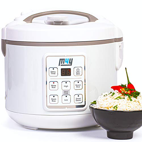 M4Y Rice Cooker, Slow Cooker and Food Steamer – 1.2 Litre - Keep Warm Function, Delay Timer, Premium Inner Pot, Spatula & Measuring Cup, Perfect Rice Every time– Quick & Easy, 8 Different Functions