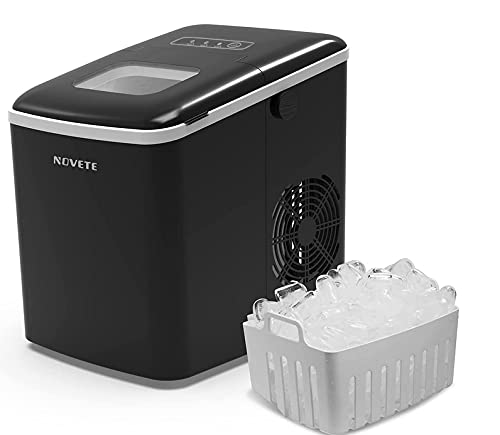 Countertop Ice Maker, NOVETE Portable Ice Machine, 9 Ice Cubes Ready in 6 Minutes, 13 kg/28.7 lb Ice in 24 Hours, No Water Line and Drain Line Required, Home Ice Machine with Ice Scoop and Basket