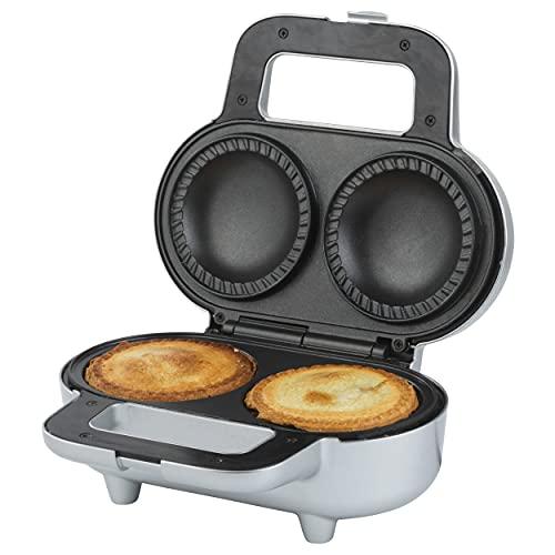 Giles & Posner EK4082G 900 W Double Deep-Fill Non-Stick Pie Maker, Twin Pie Machine, XL Electric Mince Pie Maker, Crimping Edge, Makes Pies 9cm in Diameter & 7cm in Depth, Easy Clean, Locking Latch