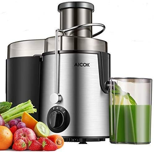 """Juicer Centrifugal AICOK Juicer Machine 3 Speed Mode Wide 3"""" Feed Chute Juice Extractor for Whole Fruit and Vegetables Easy Clean, Stainless Steel Juicer with Pulse Function, BPA-Free"""