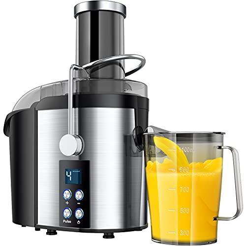 """800W Centrifugal Juicer Machine 4 Speed Mode Wide 3"""" Feed Chute Juice Extractor for Whole Fruit and Vegetables Easy Clean, Stainless Steel Juicer with Pulse Function"""