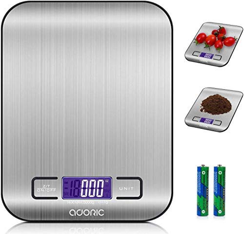 ADORIC Digital Kitchen Scales, Professional Electronic Scales with LCD Display, Incredible Precision up to 1g (5kg Maximum Weight), Silver