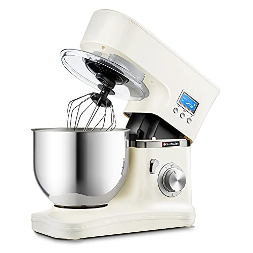 HAUSWIRT Stand Mixer, 3-In-1 Food Mixer with Digital Display, 5L 1000W Mixers for Baking, 8 Speeds and Pulse Setting, Kitchen Electric Mixer Release Mechanism HM740- Cream White
