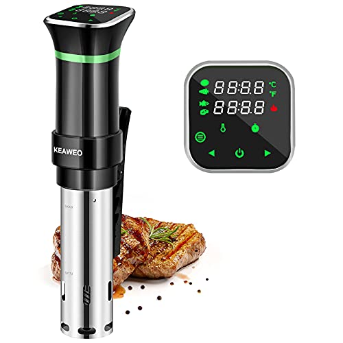 KEAWEO Sous Vide, Immersion Circulator Thermal Immersion Circulator Sous Vide Machine Cooker, Ultra-Quiet, Accurate Temperature 25-95℃ Digital Timer, Menu Function, Stainless Steel 1100W