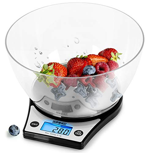 Duronic Digital Kitchen Scales KS6000 BK   Black Design with 1.5L Bowl   5kg Capacity   LCD Backlit Display   Add & Weigh Tare   Measure Ingredients for Cooking & Baking