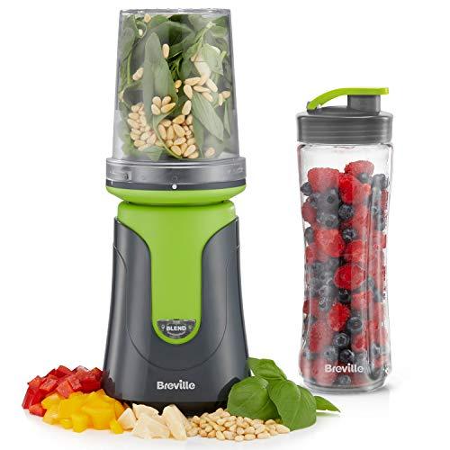 Breville Blend Active Compact Food Processor and Smoothie Maker, 1 x Processor Bowl, 1 x Portable Blending Bottle (600 ml) 300 W, Green [VBL241]