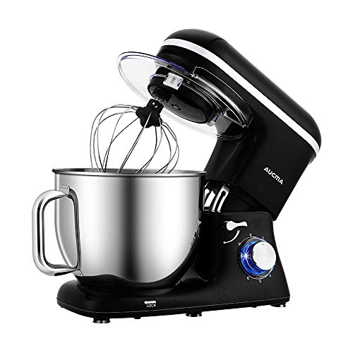 Aucma Stand Mixer,7L Tilt-Head Food Mixer, 6 Speed Electric Kitchen Mixer with Dough Hook, Wire Whip & Beater 1400W (Black)