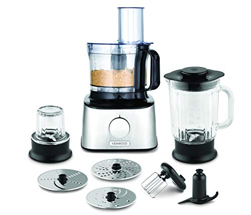 Kenwood Multipro Compact Food Processor, 1.2 Litre Bowl, 1.2 Litre Thermo-resist Glass Blender, Dough Hook, Whisk, Reversible Slicing and Grating Discs, Spice Mill, 800 W, FDM302SS, Silver