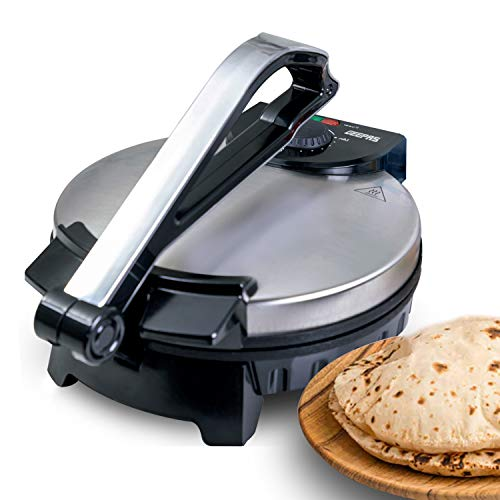 Geepas 1200W Mexican Style Tortilla Press - Roti/Chapati Maker - Ideal for Making Homemade Tortillas Tacos Flatbreads Chapati Roti - Non-Stick Coating, Lightweight & Compact Design - 2 Year Warranty