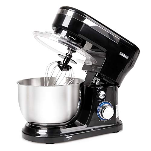 Duronic Stand Mixer SM104 | Black Electric Kitchen Mixer | 6x Speed + Pulse Function | 1000W | 4 Litre Mixing Bowl with Splash Guard | Includes Beater, Whisk & Dough Hook | Food Prep, Baking & Cooking
