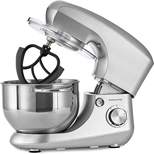 Andrew James Stand Mixer Electric Food Mixer with Large 5.5 Litre Bowl | Includes Beaters for Baking Plus Dough Hook & Balloon Whisk | Removable Splash Guard | 6 Speed Settings | 800W | Silver