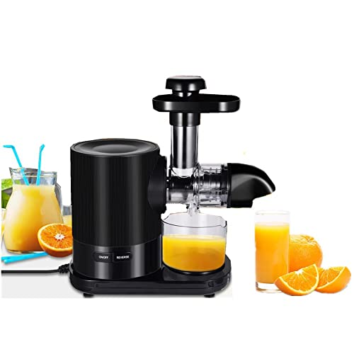 Slow Masticating Juicer Machines, 1100W Small Electric Juicer Machine Cold Press Juicer with Quiet Motor and Brush, Easy to Clean, Juice Maker for Fresh Healthy Fruits and Vegetables Juice