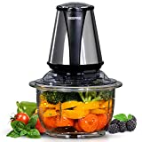 Geepas 400W Mini Food Processor | 1.2L Glass Jar Bowl & 4 Stainless Steel Blades, 2 Speed, Mini Food Chopper Shredder Perfect for Salads, Salsa, Guacamole, Pesto, Curry Pastes & More – 2 Year Warranty