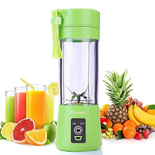 Portable Blender,Personal Mini Blender Shakes Smoothies Ice Jucier Cup USB Rechargeable 2000ml Battery Strong Power Six Blades Mixer Home Office Sports Travel Outdoors 380ml Green