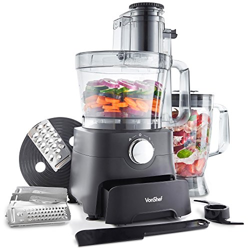 VonShef 1000W Food Processor - Multifunctional Blender, Chopper, Mixer with Dough Blade, Shredder, Spatula, Grater, Accessory Storage Drawer, 3.5L Bowl & 1.8L Jug - 2 Speed Settings & Pulse Function