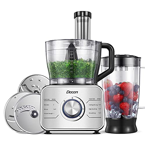 Decen Food Processor Multifunctional, 1100W Blender Food Processor with 3 Speed Setting and LED Indicator, 3.5L Bowl( Chopping, Mincing, Pureeing, Slicing, Shredding and Kneading ), Silver