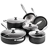 Nonstick Cookware Set Induction, 10 Piece Stone-Derived Cooking Pots and Pans with Lids, Home Kitchenware with Saucepan, Frying Pan, Stockpot, Oven Safe, Granite/Gift Box Included-SKYLIGHT