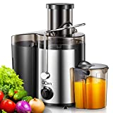 Juicer Machine, 2 Speed Centrifugal Juicer Extractor with 76MM Large Feed Chute for Whole Fruit Vegetable, Easy to Clean, Non-Slip Feet, Safety Lock Arm, Stainless Steel and BPA-Free, by QCen