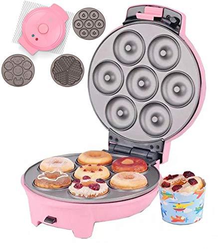 CanKun Donut Maker 3 in 1, Donut Machine 750Watt Donut Maker Machine with 3 Baking Pan Non-Stick Plates Donatsmaker Safe & Durable for Delicious Mini Donuts