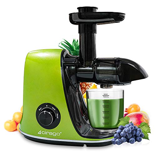 Slow Juicer Masticating Juicer Machine, Extractor Two Speed Adjustment, Easy to Clean, Quiet Motor, Cold Press Juicer for Vegetables and Fruits, BPA-Free (Green)