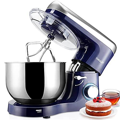 Stand Mixer, Elegant Life 5.8L 1500W Tilt-Head 6 Speeds Food Mixer, Removable Stainless Steel Mixing Bowl, Kitchen Mixer for Baking Includes Beater, Dough Hook, Whisk and Bowl Cover, Blue and Silver