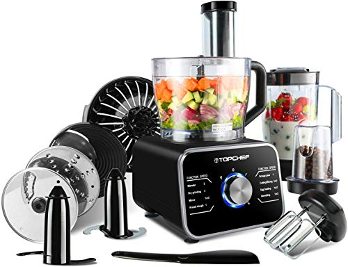 Food Processor Topchef 1100W Multifunctional Food Processor- Blender, Chopper, Mixer, Grinder, Citrus Juicer, Knead Dough Blades, Shredder, Slicing Attachments and 3.2L Bowl 1.5L Blender Jug