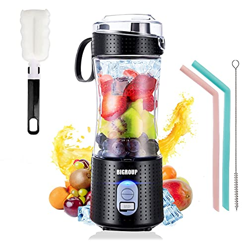 BIGROUP Mini Portable Blenders for Smoothie, Personal Mini Juicer Machines Fruit Mixer Blender USB Rechargeable On The GO Handhold, 13Oz Bottle for Travel Home Office Outdoors -Black