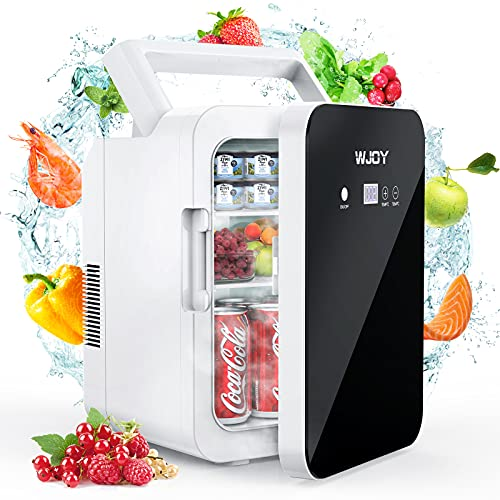 WJOY Mini Fridge 10L Portable Mini Refrigerator,Cooler and Warmer fridge with LCD Temperature Adjustment Touch screen,AC/DC fridge for Skin Care&Food great for cars and bedroom