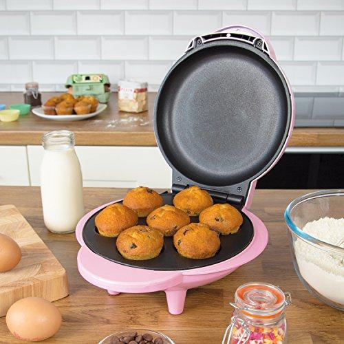 Global Gizmos 35590 Mini Cupcake Maker / 1000w / Unique Thermostatic Design / Non-Stick Plates / Easy Clean / 23cm x 23cm