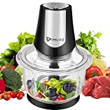 1.2L Electric Mini Food Chopper Food Processor Meat Grinder,4 Bi-Level Blades,400 W Glass Bowl Kitchen Mincer for Meat, Vegetables, Fruits, Onion and Nuts,Baby Food
