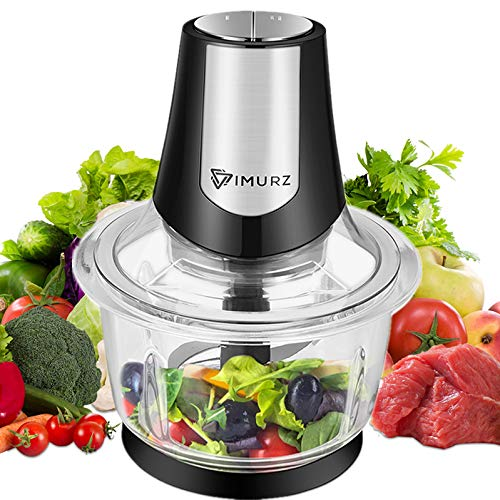 1.2L Electric Mini Food Chopper Food Processor Meat Grinder,4 Bi-Level Blades,400 W Glass Bowl Kitchen Mincerfor Meat, Vegetables, Fruits, Onion and Nuts,Baby Food
