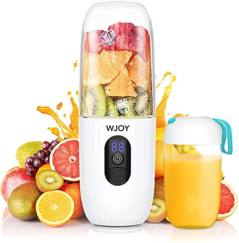 WJOY Portable Blender 510ml,Personal Blender Mixer for Juicing,USB Rechargeable 4800mAh Battery also be used as a Powerbank for Travel,Six 25,000 rpm Blades for Smoothie, Fruit,Milk Shakes (White)