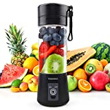 TENSWALL Mini Portable Blender, 380ml Personal Blender Smoothie Maker Fruit Mixing Machine with Six Blades, Mini Jucier Cup USB Rechargeable for Home, Office, Sports, Outdoors