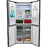 Fridgemaster MQ79394FFB 394 Litre American Style Fridge Freezer Frost Free Ice Dispenser 4 Door 79cm Wide - Black